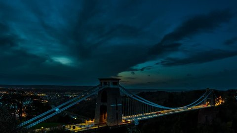 Clifton Suspension Bridge Timelapse (time lapse), with zoom, change of light and moving clouds