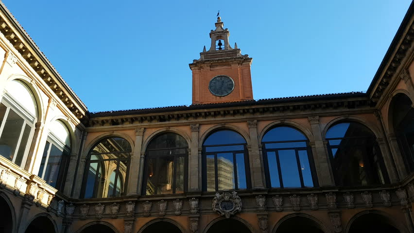 BOLOGNA - December 29 2017:The Archiginnasio of Bologna is one of the most important buildings in the city of Bologna;it currently houses the Archiginnasio Municipal Library and the Anatomical Theatre