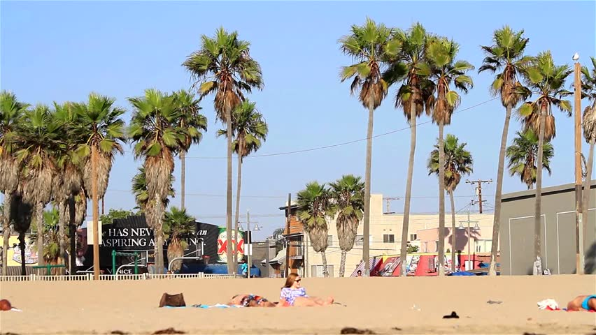 VENICE BEACH, USA - SEPT 19: Beach scene on September 19, 2012 at Venice Beach, Los Angeles, California, USA. Venice Beach is is known for its canals, beaches and circus-like Ocean Front Walk.