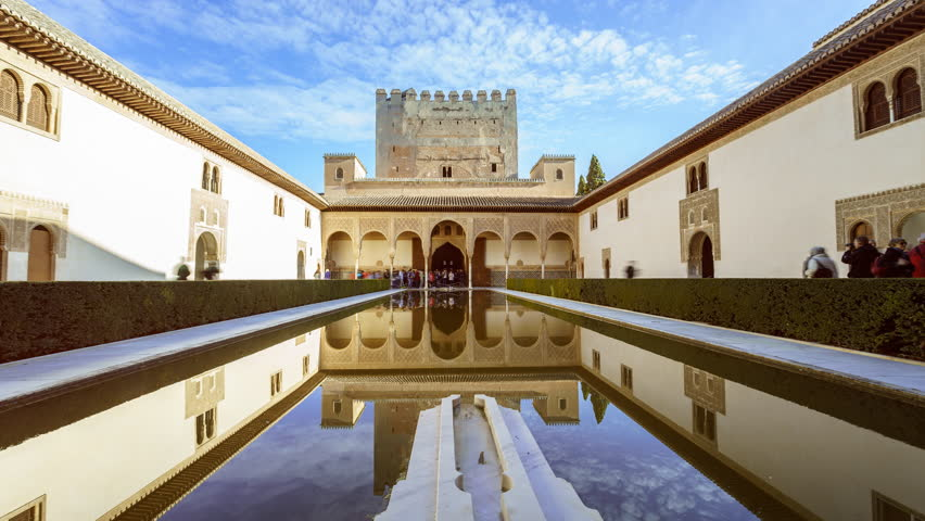 GRANADA, SPAIN - SEPTEMBER 2017. Time lapse shot inside the 'Alhambra', Courtyard of the Myrtles (Patio de los Arrayanes).