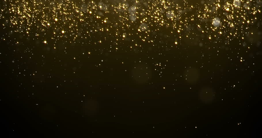 Abstract gold particles glitter light falling bokeh glare effect. Shimmering texture of glittering golden light rain glow for luxury premium award or Christmas background template for holiday design