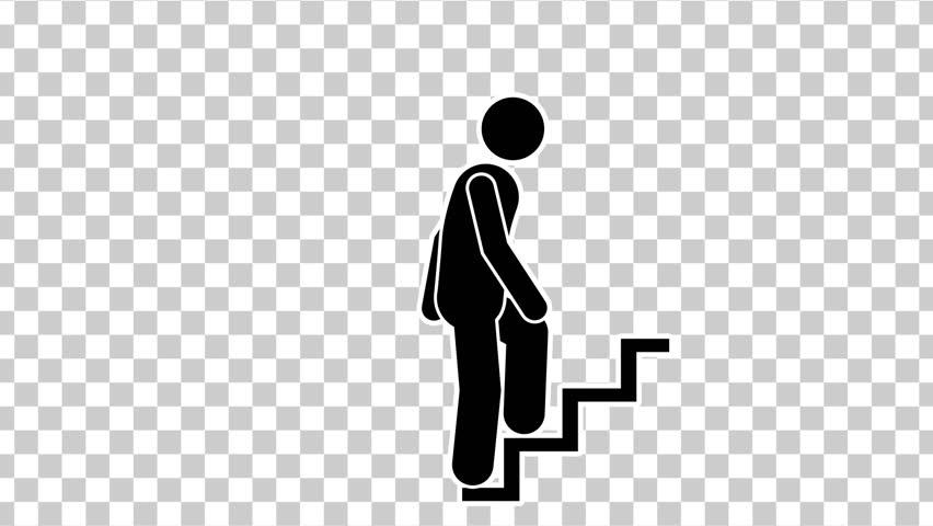 Black Stick Figure Walking Up. Footage With Alpha Matte