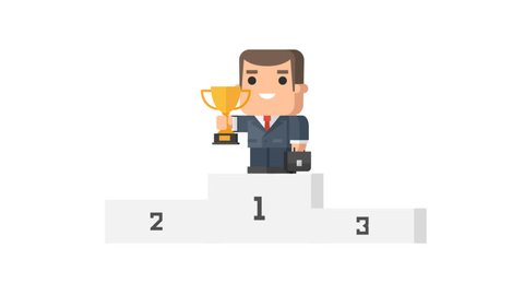 One businessman stands on pedestal holding cup and smiling funny character. Motion graphics. Transparent background.