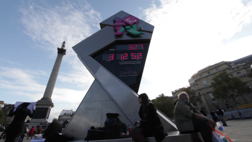 LONDON - OCTOBER 7, 2011: Camera pans on a view of the Olympic clock countdown at Trafalgar Square