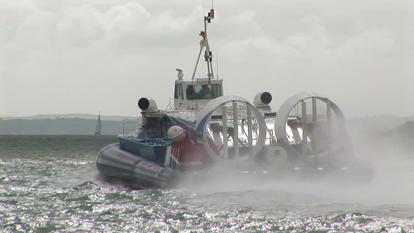Hovercraft departing on the Solent at Portsmouth harbor, England.