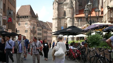 NUREMBERG, GERMANY - JUNE 24: View on daily life in the center of the city on June 24,2017 in Nuremberg, Germany.