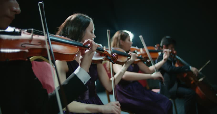 String quartet performs on stage, close-up of violin in work | Shutterstock HD Video #34735462