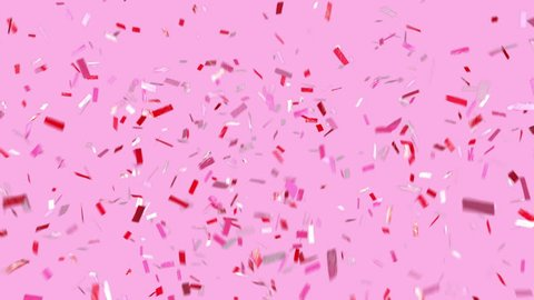 Celebrate! Fun confetti on a pink modern background! Loopable. Multi-color ticker tape style confetti falls and clears frame. See portfolio for similar and so much more!