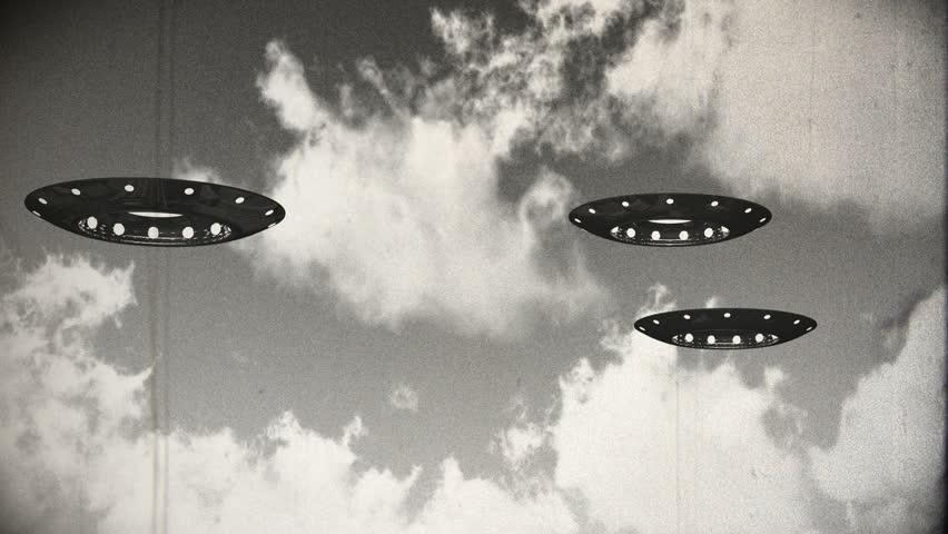 Ufo On Earth under Clouds Vintage Design