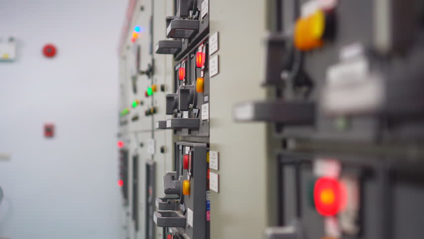 Electrical control panel in substation in manufacturing industrial plant , video for business industrial and energy engineering concept
