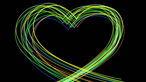 4k Abstract heart love neon line glow led wedding valentines day background. cg_04141_4k