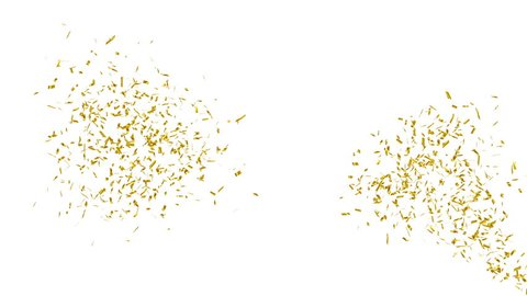 Gold confetti explosion. Holiday or party background. Alpha channel, 4K