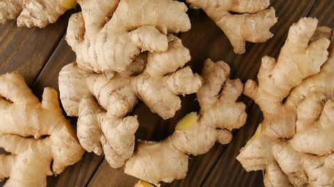 Ginger roots on the table.