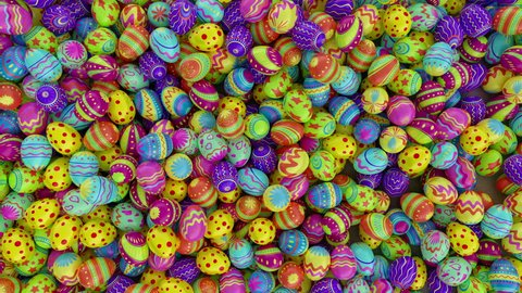 Colorful Easter eggs, fall into the frame and fill it completely. White background.