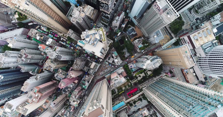 90 degrees hi Top view of Hong Kong cityscape from the drone.