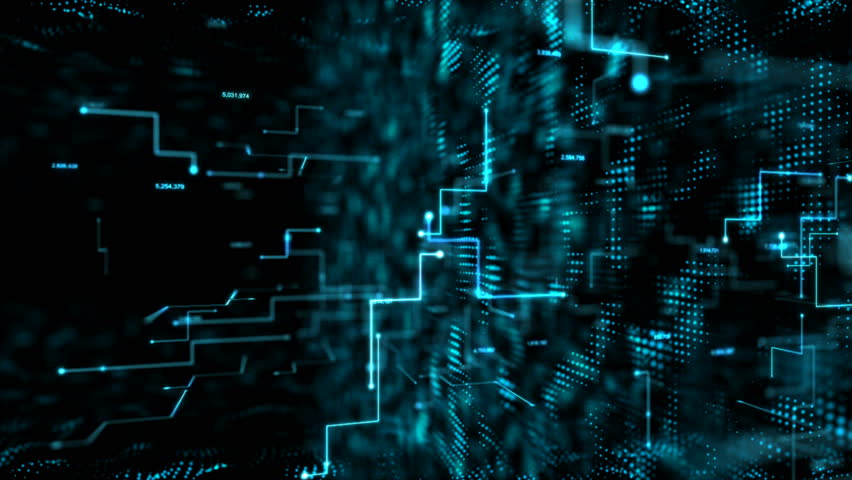 4K Animation 3D abstract dark background moving dot and line metaphor cyber futuristic data transfer network connection concept with grain processed | Shutterstock HD Video #34867732