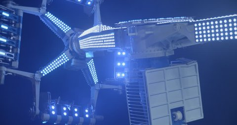 Luna park machine slowmotion 4K by night