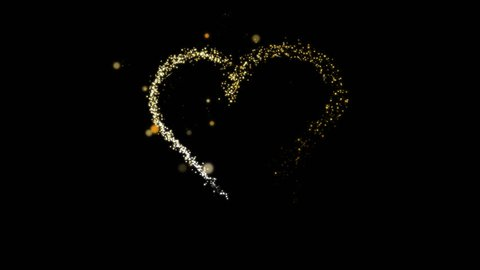 Festive effect with gold silver sequins. Alpha channel. Draws a heart shape The lights are shining and flying away.