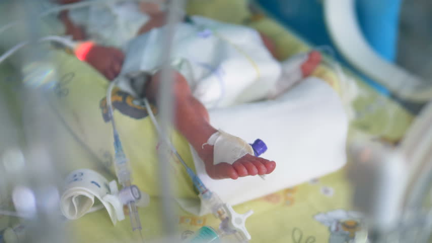 A newborn baby lying inside a crib at a hospital.