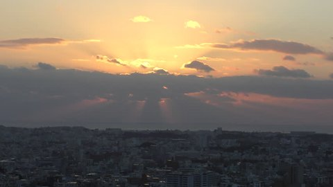 Sunset seen from Okinawa Naha Shuri