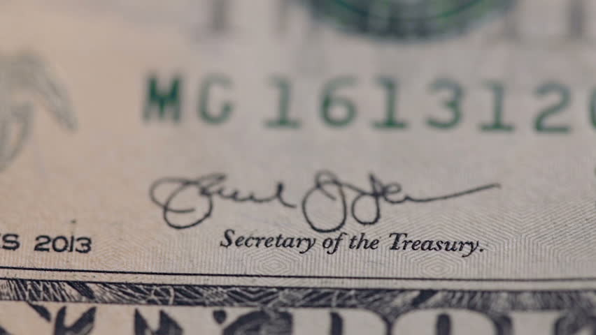 Macro shot of details of a twenty-dollar bill. Front side with inscription: Secretary of the Treasury. | Shutterstock HD Video #34896472