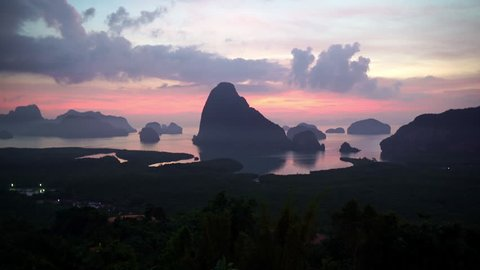Beautiful timelapse of sunset cloudscape shooted from the Phang Nga Bay viewpoint, Thailand.