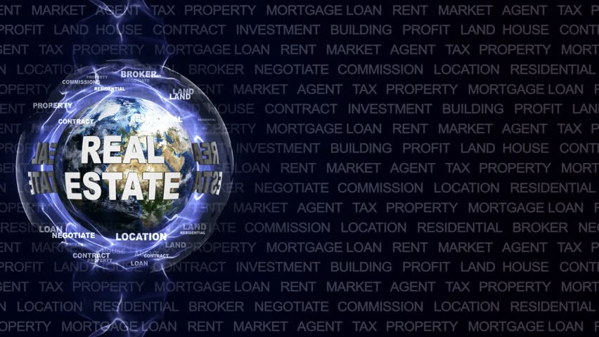 REAL ESTATE Text Animation and Earth, Rendering, Background, Loop, 4k  #34909102
