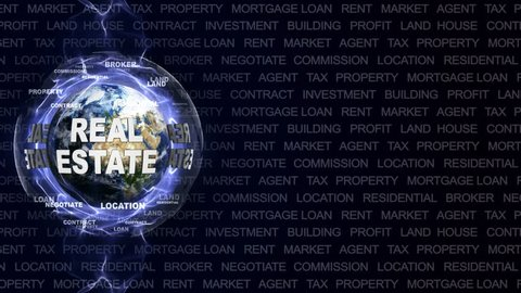 REAL ESTATE Text Animation and Earth, Rendering, Background, Loop, 4k