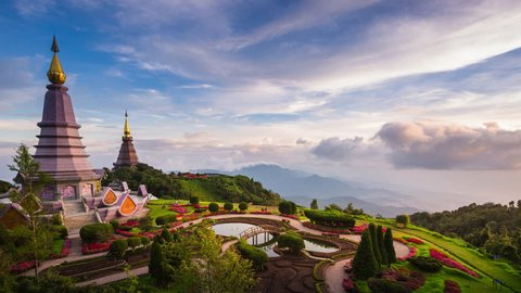 Landmark of Chiangmai, Pagoda and Mist on Doi Inthanon national park at Chiang mai, Thailand.