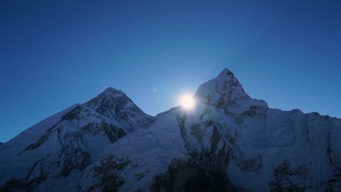 Time lapse. Sunrise over Everest. Track to the base camp of Everest in the Himalayas. Sagarmatha National Park, Nepal