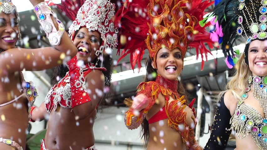 Brazilian women dancing samba music at carnival party #34934272