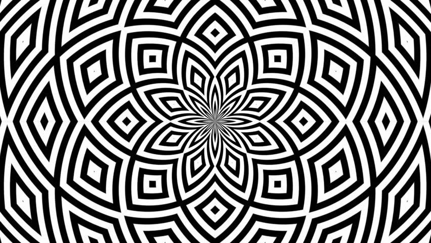 Hypnotic Rhythmic Movement Black And White Shapes 15