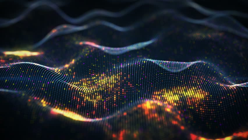 Abstract glowing virtual neural network. Futuristic coding or Artificial Intelligence concept. Seamless loop 3D animation rendered with DOF 4k (4096x2304)
