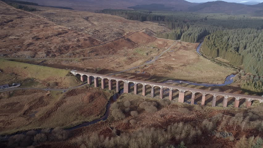 High Level Aerial View of the Disused Fleet Viaduct in the Highlands of Scotland