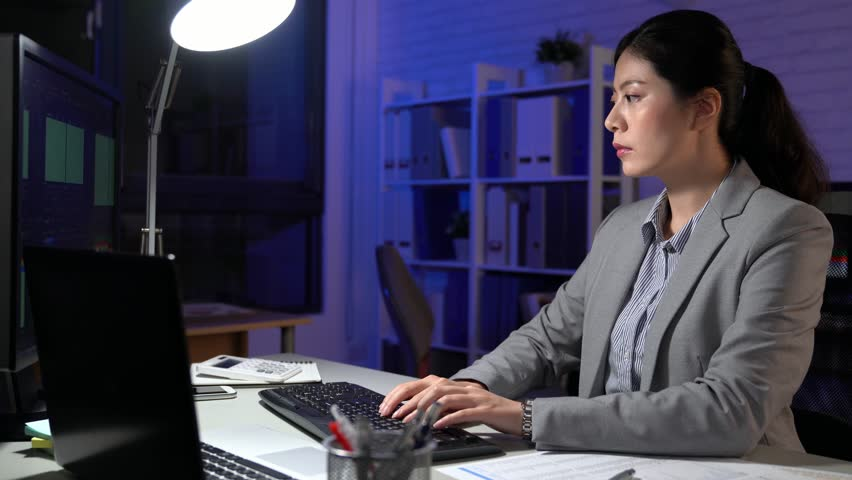 Asia global stocks and shares against overworked businesswoman using computer working at night | Shutterstock HD Video #34981147