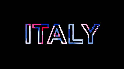 Letters are collected in country name ITALY, then scattered into strips. Bright colors. Alpha channel Premultiplied - Matted with color black