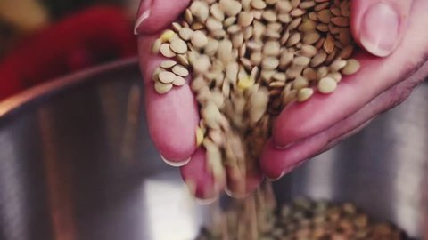 lentils falling in bowl