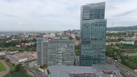 Almaty - MAY 2017: Aerial close shot of the  Ritz-Carlton building
