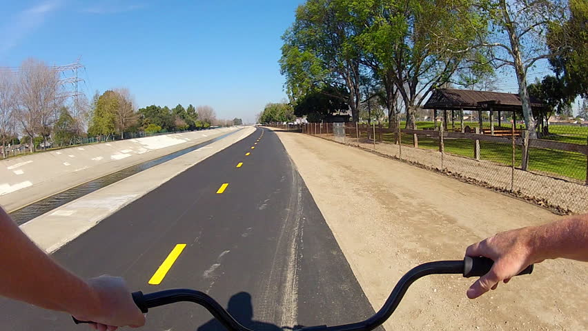 LONG BEACH, CA - February 23, 2013: The POV of someone riding a bicycle on the