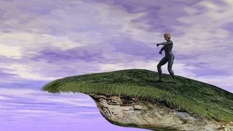 3D rendering of young blonde woman training martial arts on a high cliff with a cloudy sky in the background