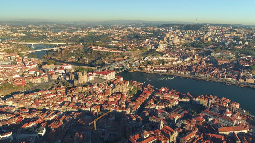 Portugal Porto aerial video city centre buildings bridges architecture rooftop 4k awesome | Shutterstock HD Video #35052052