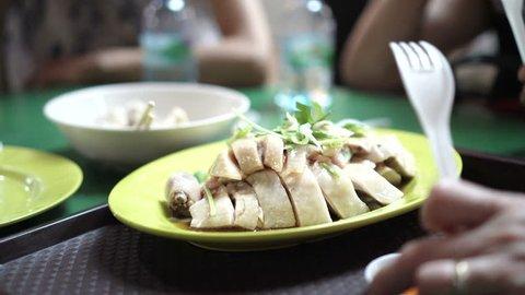 Singapore Hainan Chicken rice signature dish 4K
