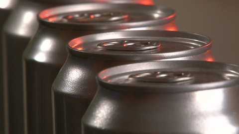 Aluminum Cans, Industry, production line, close up