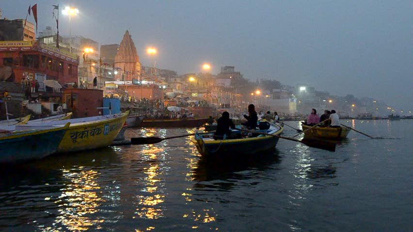 NEW DELHI,INDIA-FEBRUARY 14 : Boats at river ganges ready for transport of pilgrims on the sacred River Ganges at Varanasi, on Feb 14,2013 in Varanasi, India.