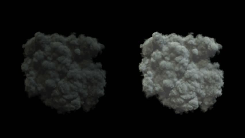 powerful explosion with smoke. View from above. Alpha-channel included. HD 1920x1080