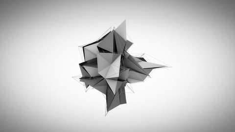 Collapsing abstract triangles 3D black and white