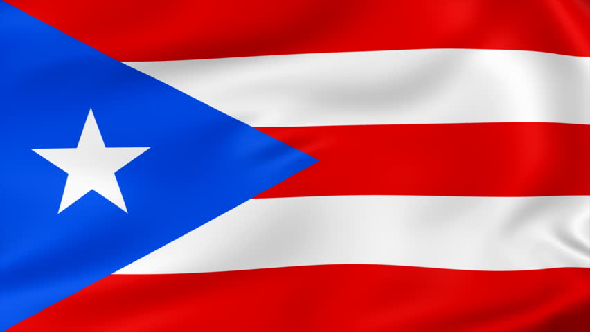 animated flag of Porto Rico - seamless loop