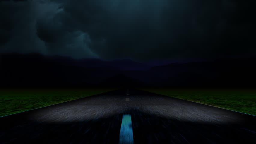Traveling at a high rate of speed down a lonesome road toward a storm