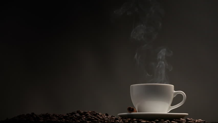 Cup Of Coffee On Black Background Stock Footage Video