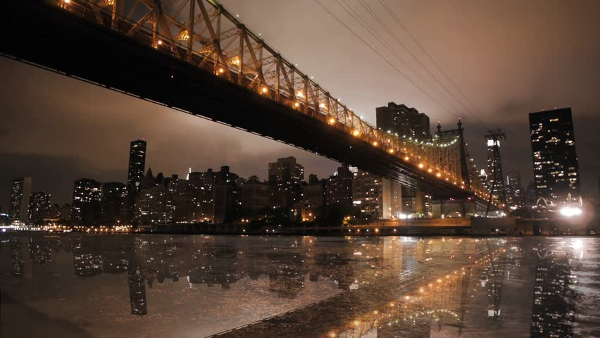 new york city nyc cityscape skyline night bridge east river view manhattan water reflection usa east coast 1080 HD district panorama view traffic areal view big city  #3568172